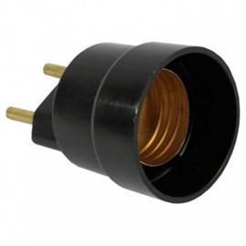 Adaptador Soquete para Lâmpada E27 Plug 2P Preto Germer