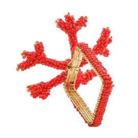 Anel de Guardanapo Royal Metal Quadrado Coral