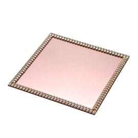Bandeja Decorativa de Vidro 25 cm Rosê Dourada Espressione Mabruk