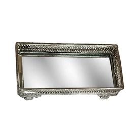 Bandeja Decorativa Espelhada 24,5cm Prata Espressione Mabruk