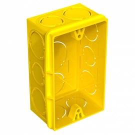 Caixa de Lux Plástica Retangular PVC 2 x 4 Amarela Tigre
