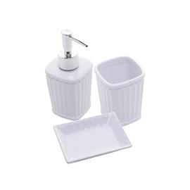 Conjunto 3pc para banheiro de Ceramica Antibes Branco