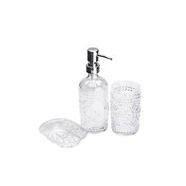 Conjunto 3PC para Banheiro de Vidro Flor de Lis Transparente