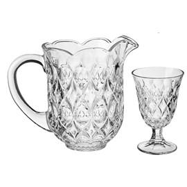 Conjunto 7pcs Jarra com 6 Taças de Cristal para Água Lile 1,5l /240ml