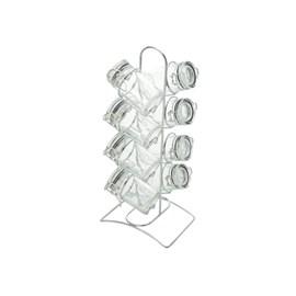 Conjunto 8pc para temperos de vidro com tampa hermética e suporte de aço cromado 65ml Transparente