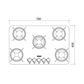 Cooktop a Gás Glass Brasil 5GG TRI 70 - 94708/502