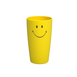 Copo Alto de Plástico 400ml Cozy Smiley e Coza Amarelo