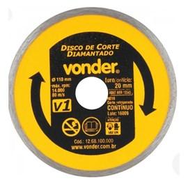 Disco de Corte Diamantado Vonder V1 Anel Contínuo 180mm Refrigerado para Mármore Granito Cerâmica