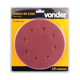 Disco Lixa 180 mm com 10 Peças Grão 60 LPV750 Vonder