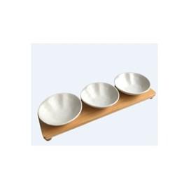 Jogo 3 Petisqueiras Porcelana Branco Matt com Bandeja Bambu
