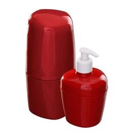 Kit de Acessórios para Banheiro Astra Vermelho Bordô 2 Peças
