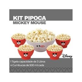 Kit Pipoca 1 Tigela 3l E 4 cumbucas 500ml Mickey Mouse Disney