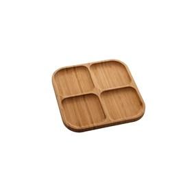 Petisqueira 4 divisórias de Bambu Square 29,5×29,5×1,6cm