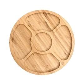 Petisqueira 5 Divisórias de Bambu Round 25x25x1,6cm