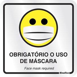 Placa Em Alumínio 15x15cm Obrigatório Uso de Máscara - Sinalize