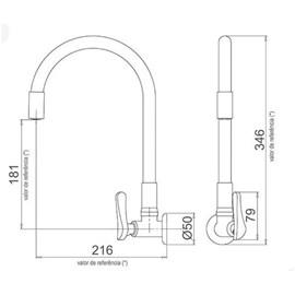 Torneira para Cozinha Flexível Parede 1178 B27 Lorenzetti